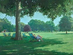 Under The Trees,St James Park by Charles Rowbotham - Original Painting on Board sized 32x24 inches. Available from Whitewall Galleries